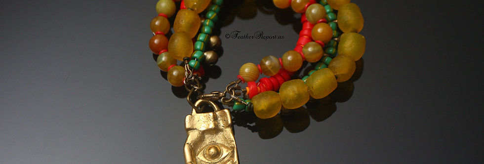 Handmade Beaded Rasta Bracelet Brass/Gold Recycled Multistrand Charm Red Gold