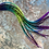 Thumbnail: 20 Rainbow Rooster Feather Hair Extensions Chatreuse Blue Purple