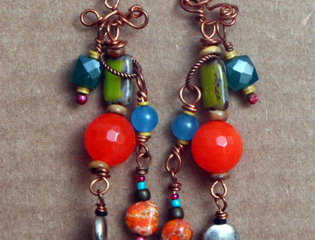 Funky Beaded Earrings Copper Orange Turquoise OOAK