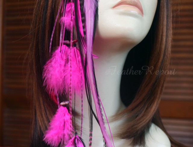 Long Hot Pink Feather Hair Clip Handmade Bohemian