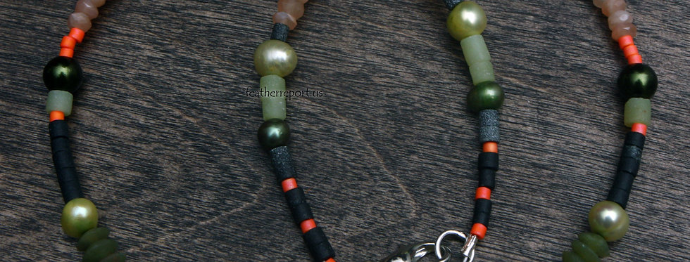 Lime Pearl Jade Orange Beaded Choker Gemstone Necklace Boho Vibes