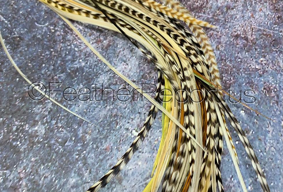 60 mixed light blonde ash ginger variant feathers bulk