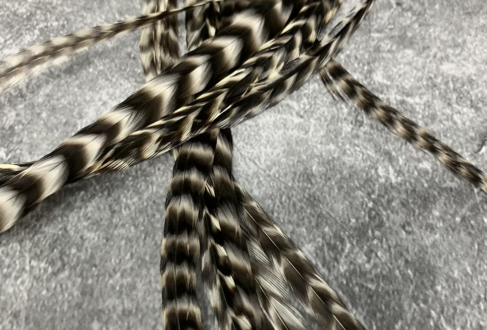 Wide Hair Feathers Natural Grizzly Rooster Extensions x 10 XXL 14-15""