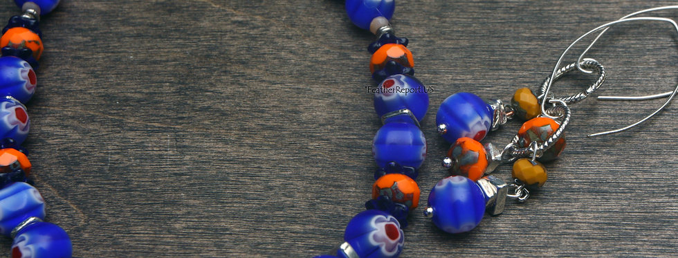 Blue Orange Necklace & Earring Set Florida Gators Jewelry
