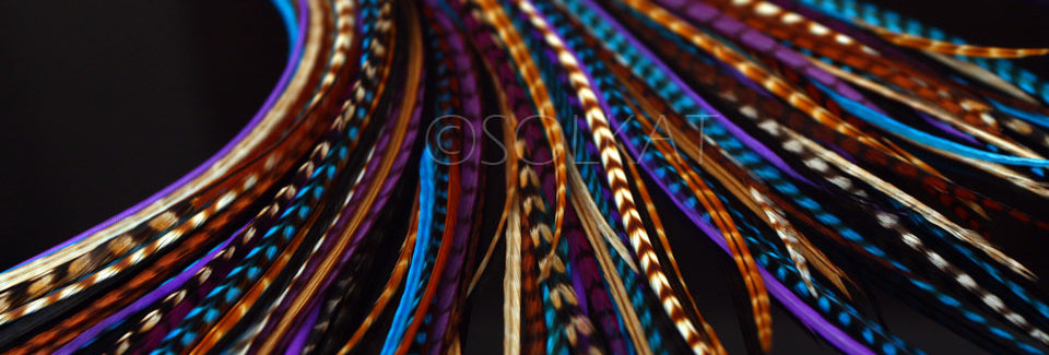 15 Electric Blue Violet Brown DIY Hair Feather Extensions