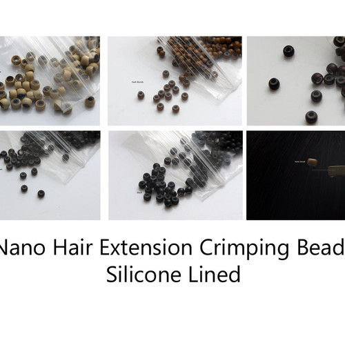 Silicone beads hair beads clips supplies for hair extensions 20 nano micro links silicone lined 2mm hair crimps blue threader pmusecretfo Gallery