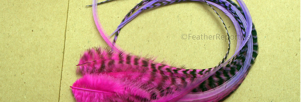 Extra Long Pink Purple Fluffy Hair Feathers 11-13