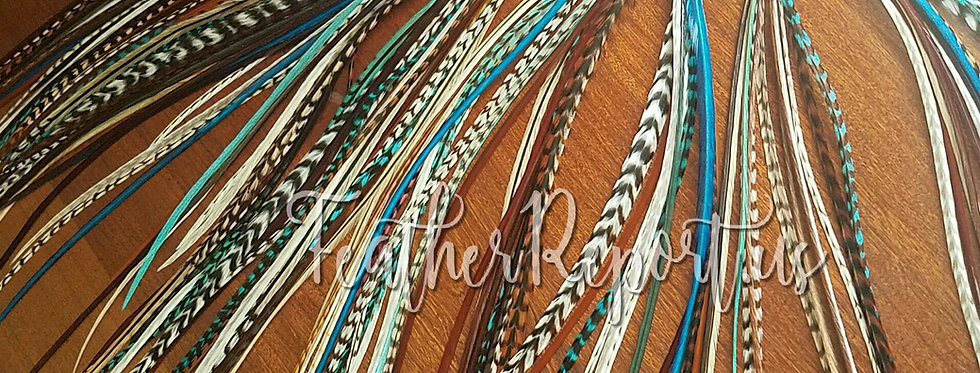 Turquoise Aqua Natural Real Hair Feathers Bundle of 30 Natural & Dyed Keychain