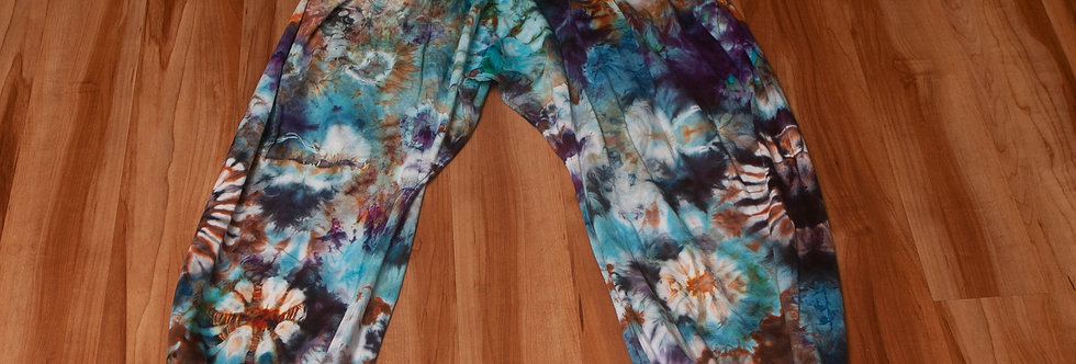 Ice Dyed Mens Thai Harem Pants Turquoise Crush Festival Wear Baggies One Size