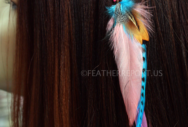 Peach Blue Feather Accessory Bohemian Hair Pin