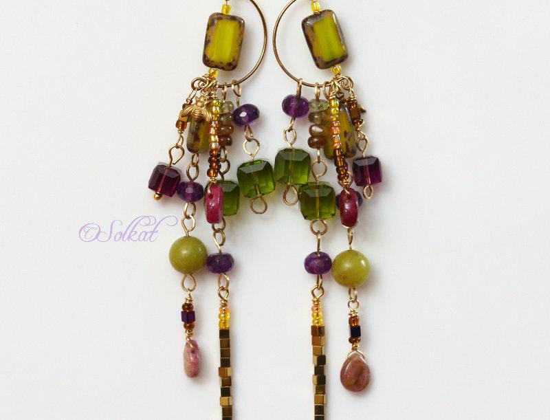 Purple Green Crystal Chandelier Earrings Moroccan