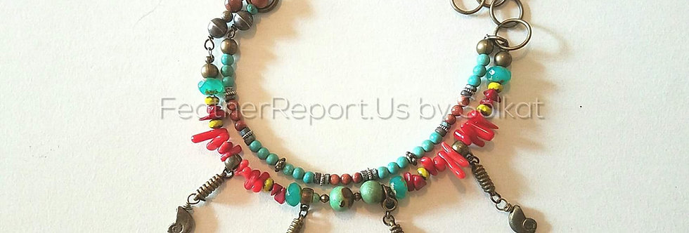 Boho Anklet Turquoise Coral Brass Jingle Jewelry