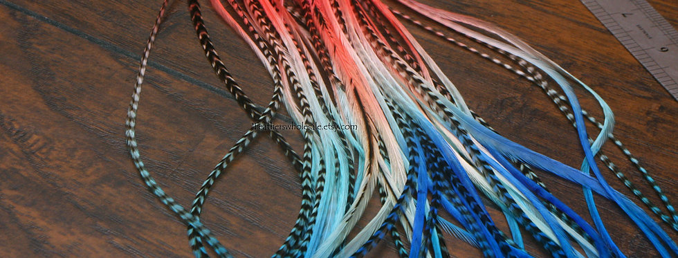 "Extra Long Hair Feathers 12-14"" Coral Hot Pink Aqua Blue 10"