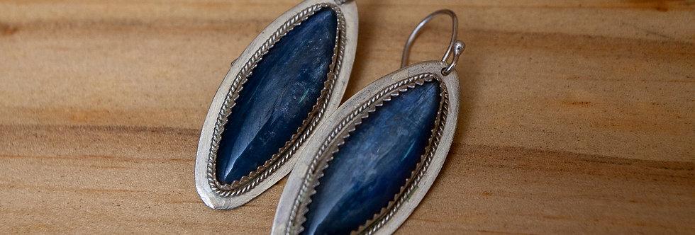 Blue Gemstone Earrings Kyanite Sterling Silver Jewelry Boho Dangle Earrings