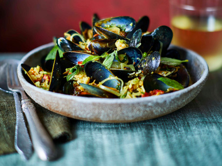 Sebby's Recipe; Chilli and Red Turmeric Mussels with Wild Ginger, Minced Prawns & Green Peppercorns