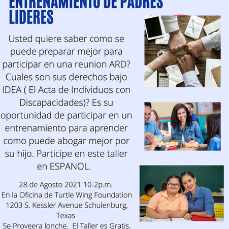 Turtle Wing Offers Parent Training in Spanish for Families who Participate in Special Education