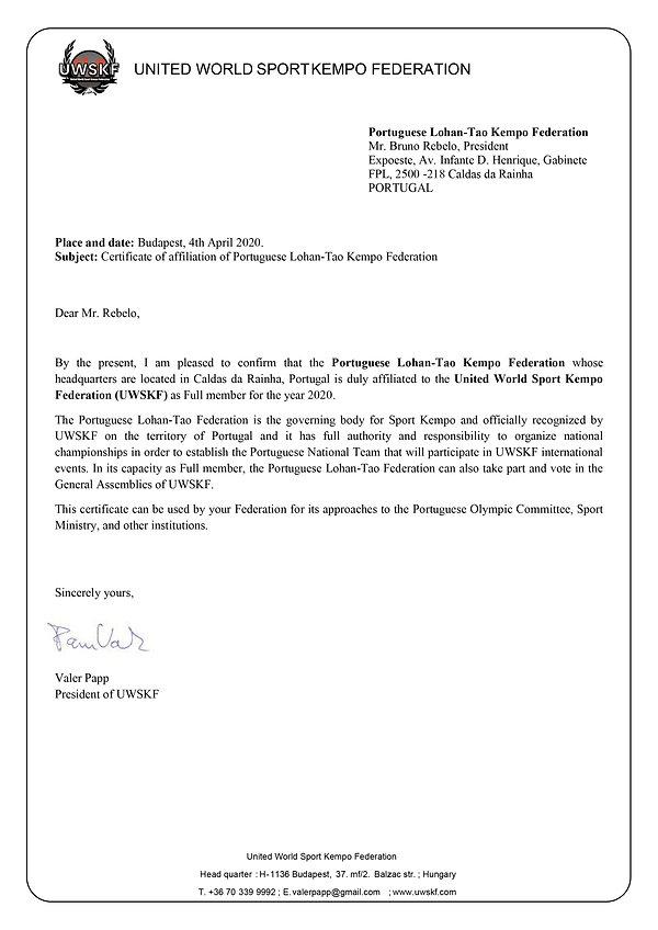 UWSKF affiliation letter of Portuguese L