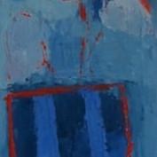 Tall Blue-Striped Vase