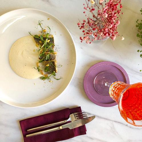 Филе сибаса с муссом из топинамбура