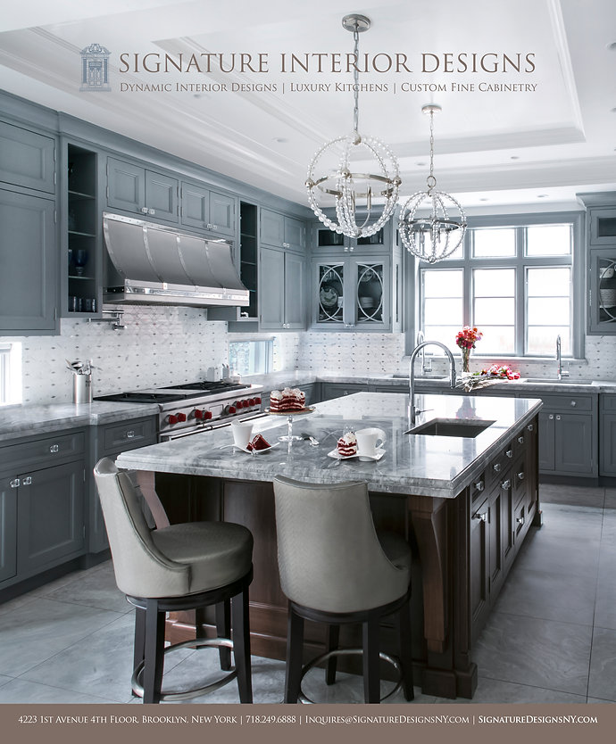 luxury transitional kitchen design by signature interior designs ny