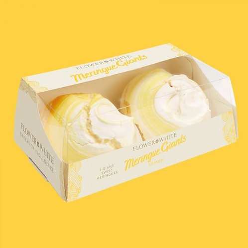 Giant Swiss Meringues. Pack of 2. Lemon