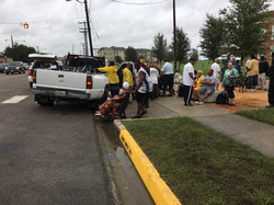 Line to get into the shelter