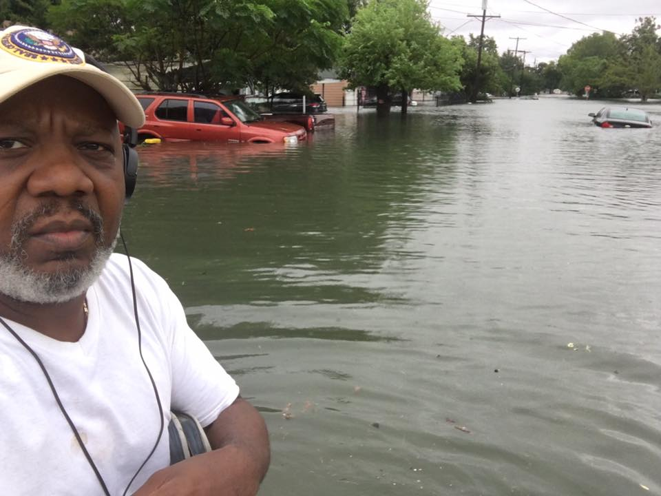 Hilton Kelley in waist deep water
