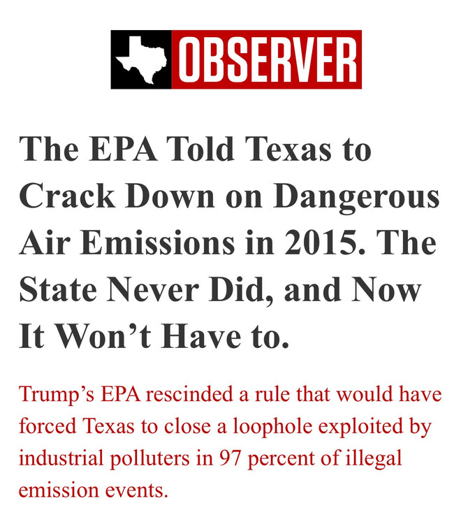 The EPA told Texas to crack down on dangerous air emissions in 2015. The State never did, and now it