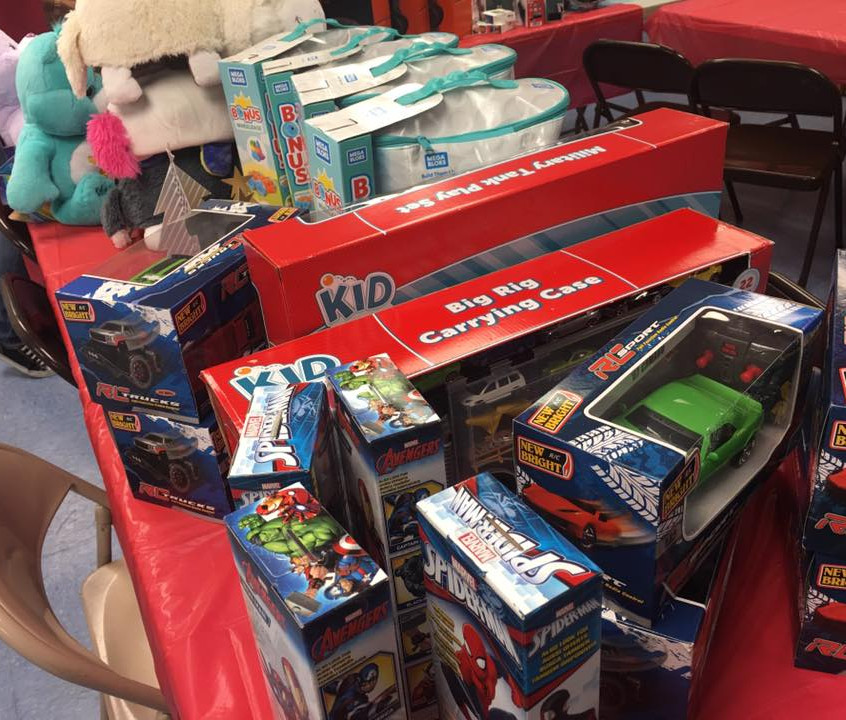Toys lined up for kids to choose
