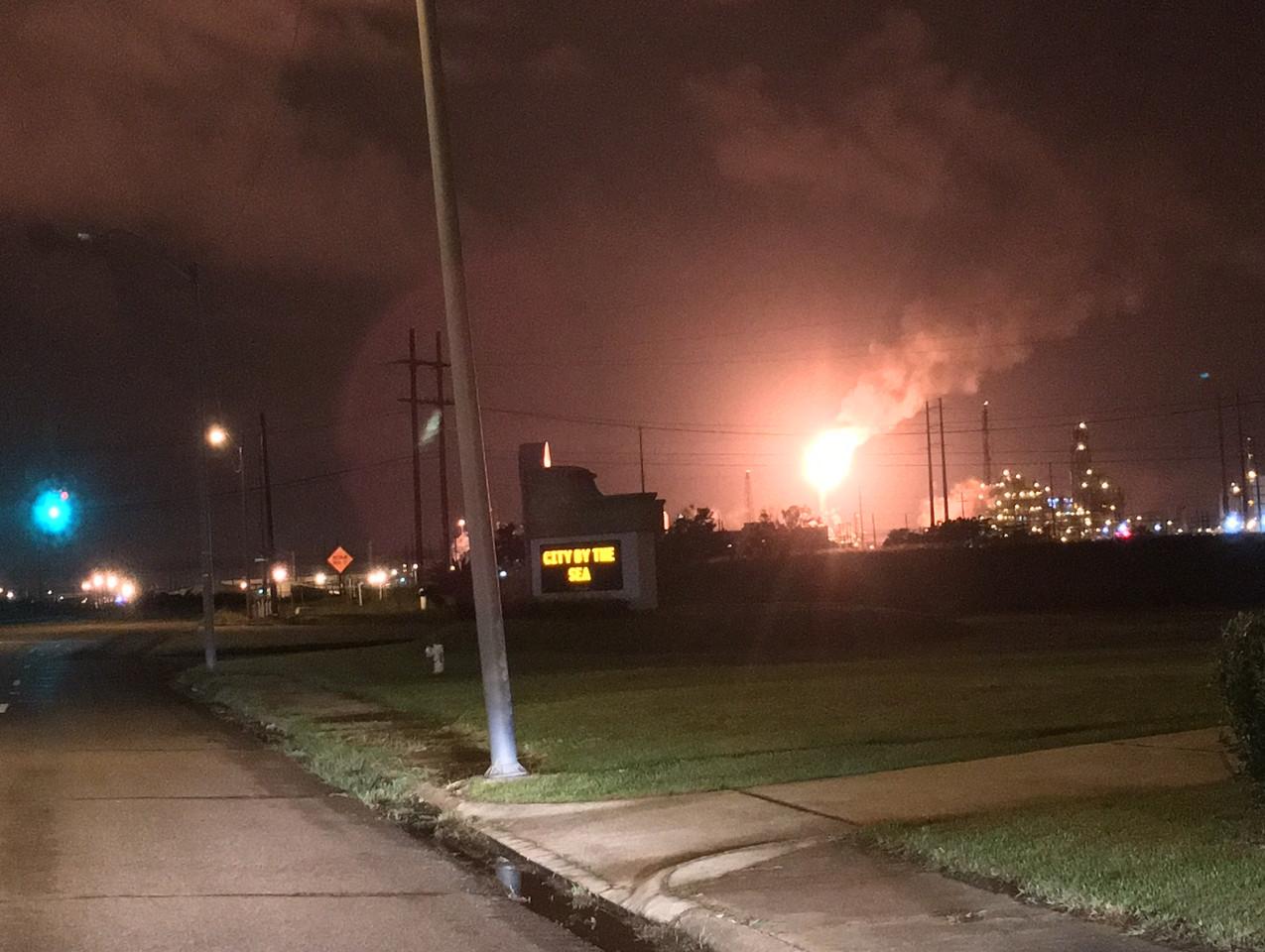 Chevron Phillips Flare at night