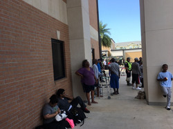 Line at the shelter