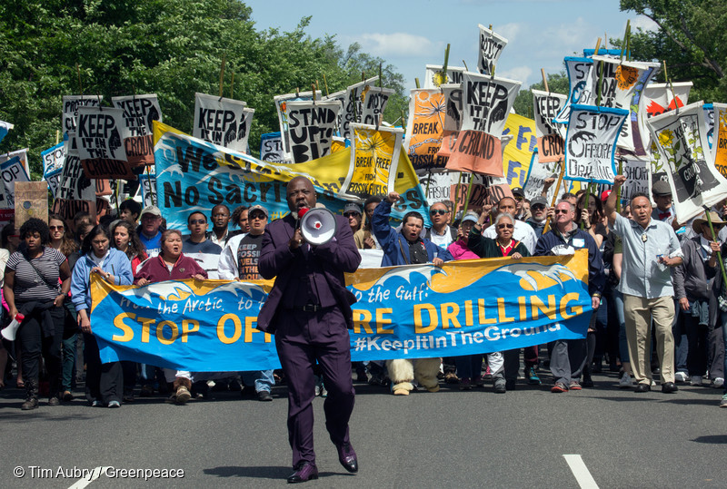 HIlton Kelley leading the protest march from the White House to the Lincoln Memorial - Click on the image for the full article on Greenpeace.org