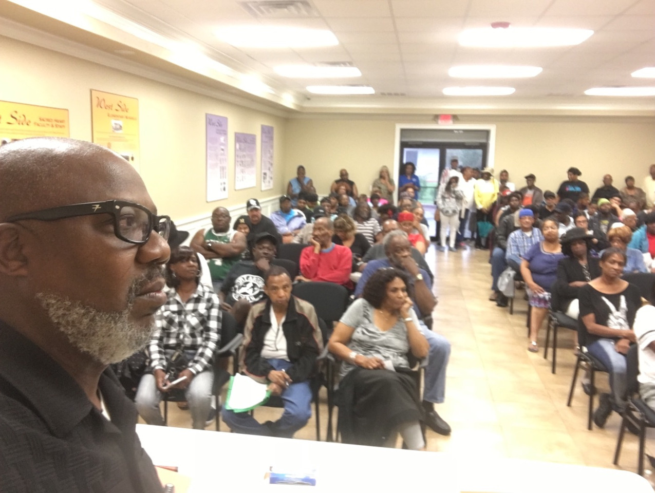 Hilton Kelley at community meeting