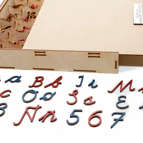 Letras Abecedario Montessori Cursiva Madera Didactic