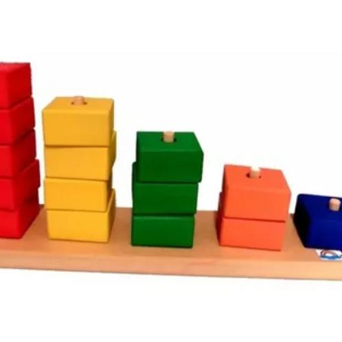 Juego Didáctico Torres Seriación Por Color Y Cantidad Madera