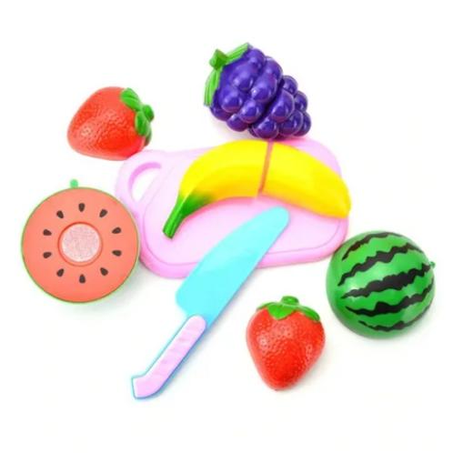 Juego De 5 Frutas C/abrojo Se Cortan Motricid Fina Terapia