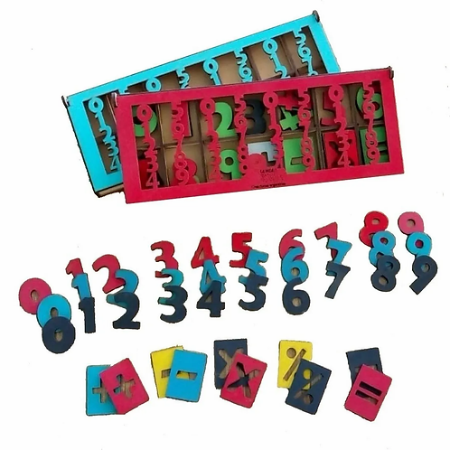 Caja De Numeros Madera Iniciacion A La Matemática Didáctico