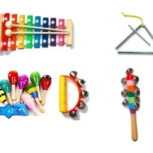 Kit De Percusión Infantil X5 Xilofon Maraca 1 A 3años Música