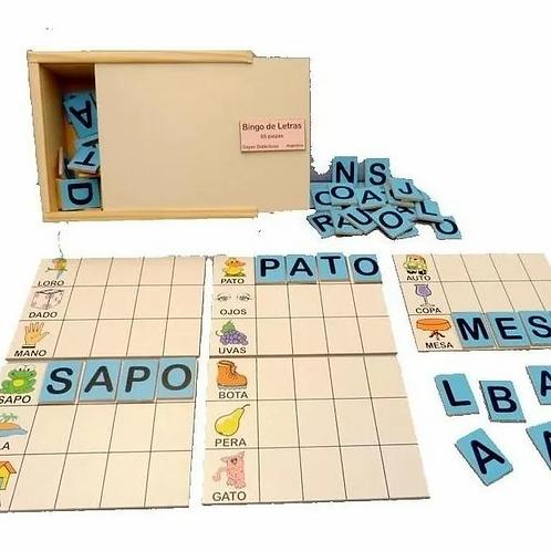 Bingo De Letras En Madera Lectoescritura 65 Pzas
