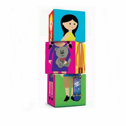 Bloques De Tela Cubos Apilables Familia Bebes Didactico