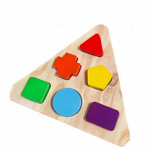Encastre De Madera Geometrico Triangulo 6 Piezas