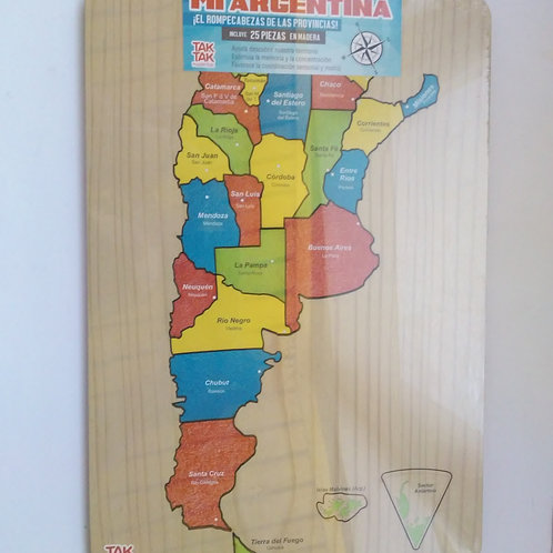 Encastre Rompecabezas Mapa De Argentina En Madera Didáctico