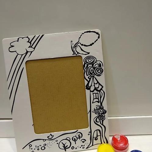 Portarretrato Cartón Blanco Con Diseño