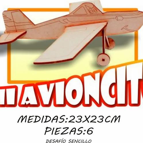 Maqueta Rompecabezas 3d Avioncito En Madera
