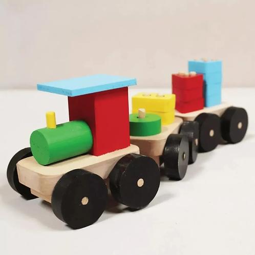 Tren De Madera Numérico Encastres