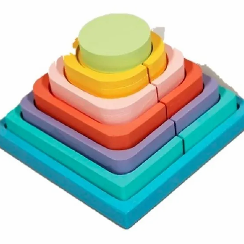 Pirámide Doble De Madera Encastre Motricidad Fina Montessori
