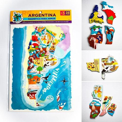 Rompecabezas Mapa Argentina o Sudamérica Magnético Puzzle 18pzs