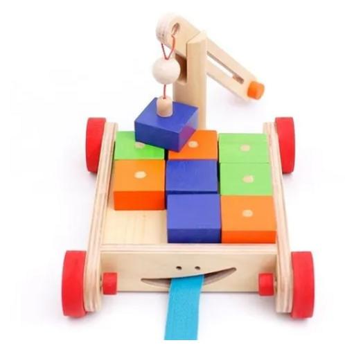 Carro De Arrastre Con Grúa Y Bloques Imantados Montessori