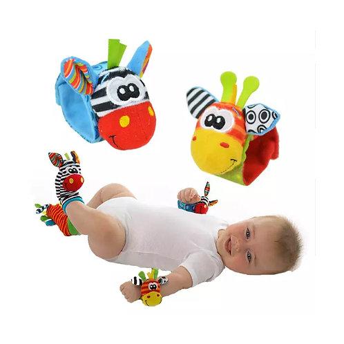 2 Muñequeras 2 Medias Sonajero P/bebe 4 Piezas Estimulación