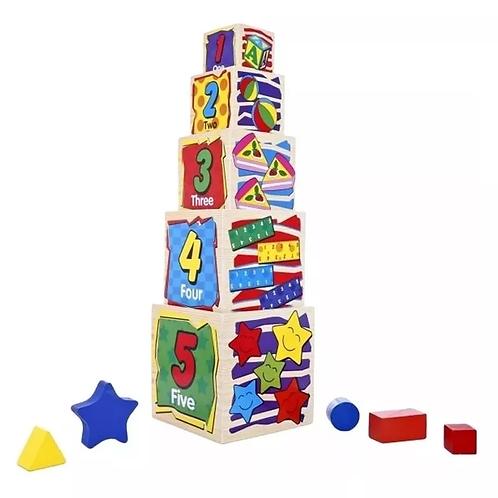 Pirámide Cubos Apilables+encastres Madera Didáctico Motricid